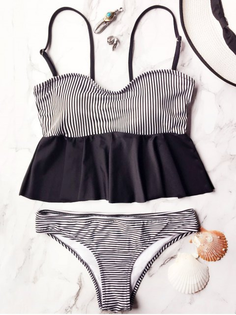 ladies Cami Striped Peplum Tankini - WHITE AND BLACK M Mobile