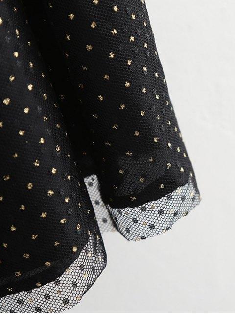 Jupe en couches de tulle à fils dorés - Noir S Mobile