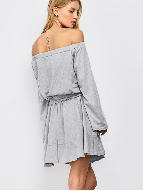 new Off The Shoulder Flare Sleeve Dress - LIGHT GRAY S Mobile