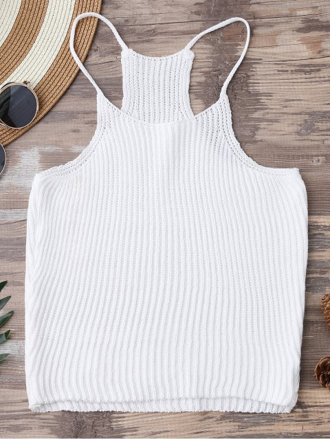 trendy Knitted Cropped Cami Top - WHITE ONE SIZE Mobile