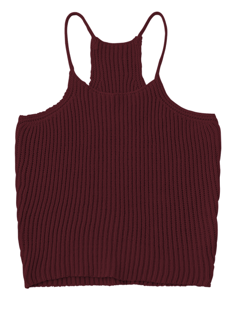 fashion Knitted Cropped Cami Top - CLARET ONE SIZE Mobile