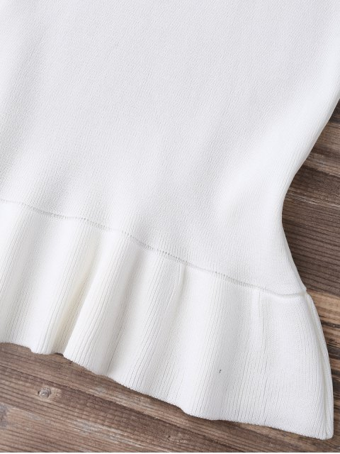 outfits High Neck Ruffle Hem Knitted Tank Top - WHITE ONE SIZE Mobile