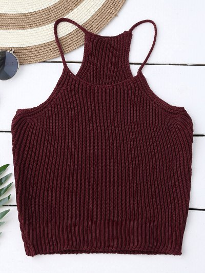 Knitted Cropped Cami Top - Claret