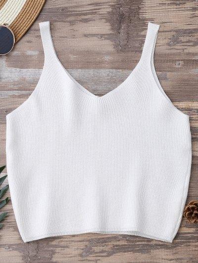 Knitting Cropped Tank Top - White