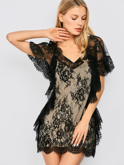 Flounced See-Through Lace Dress от Zaful.com INT