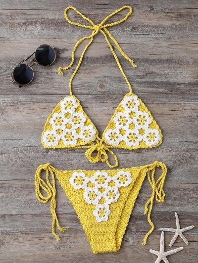 High Cut Tie Side Crochet Bikini Set - Yellow