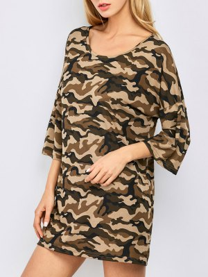 Oversized Camouflage Casual Dress - Brown