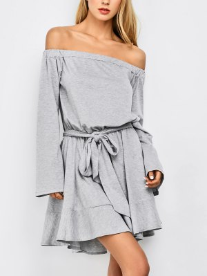 Off The Shoulder Flare Sleeve Dress - Light Gray
