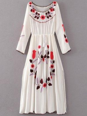 Floral Embroidered Long Sleeve Slit Vintage Dress - White