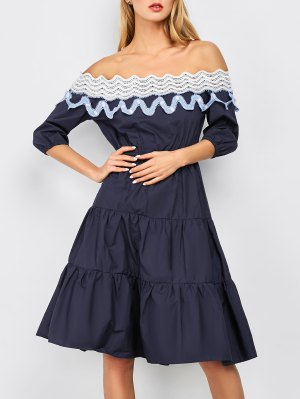 Off The Shoulder Midi Tiered Dress - Navy Blue