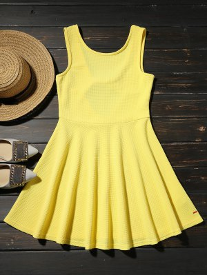 Cut Out Fit And Flare Tank Dress - Yellow