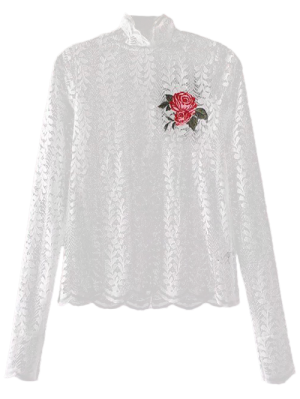 Floral Embroidered Illusion Lace Top - White