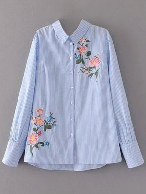 Cutout Floral Embroidered Striped Blouse - Stripe