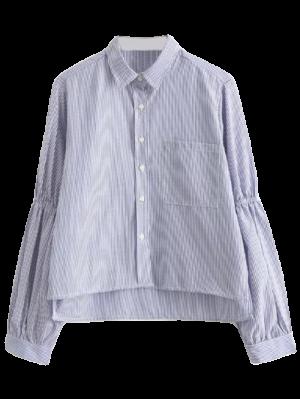 Puff Sleeve Striped Pocket Shirt - Stripe