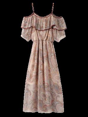 Frilly Cold Shoulder Chiffon Dress - Beige