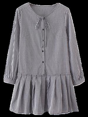 Long Sleeve Plaid Ruffle Dress - Checked