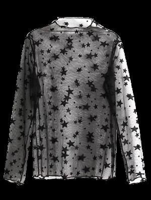Star See-Through Blouse - Black
