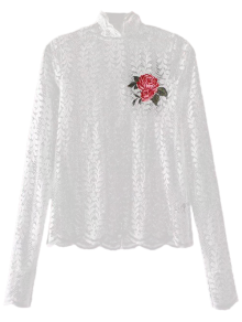 Floral Embroidered Illusion Lace Top - White S