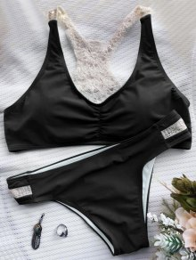 Crochet Panel Racerback Bikini