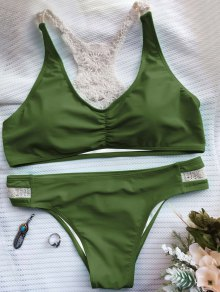 Crochet Panel Racerback Bikini - Army Green