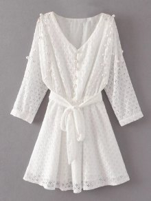 Mini Beaded Lace Dress - White