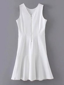 Peplum Hem Sleeveless Sheath Dress - White S