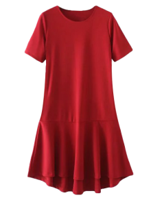 Peplum Hem Shift Dress - Red L