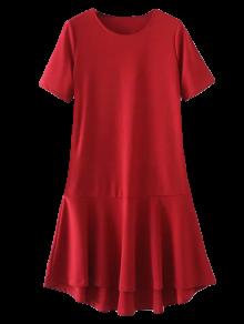 Peplum Hem Shift Dress - Red
