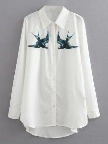 Swallow Impresión De La Camisa Ocasional - Blanco S