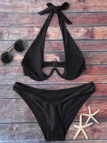 Halter High Cut Bikini Set - Black