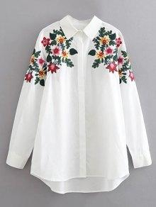 قميص القطن بتطريز الزهور  - أبيض L