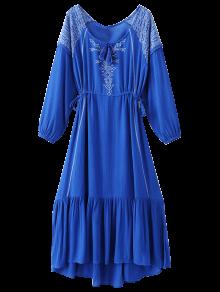 Bohemia Del Lazo Vestido Largo Bordado - Azul M