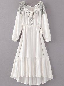 Robe Maxi Brodée à Taille Coulissée En Style Bohémien - Blanc S