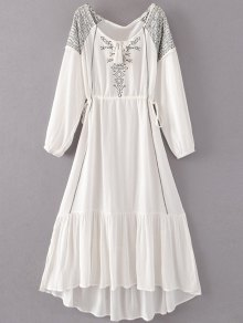 Bohemian Drawstring Embroidered Maxi Dress