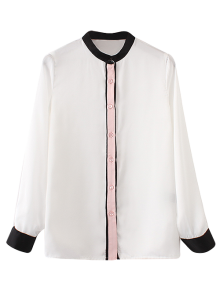 Mandarin Collar Color Block Shirt