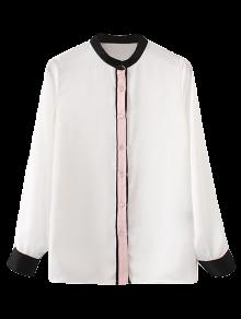 Mandarin Collar Color Block Shirt - White L