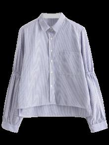 Puff Sleeve Striped Pocket Shirt