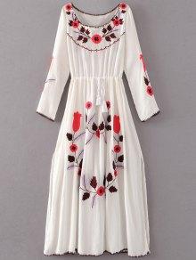 Floral Embroidered Long Sleeve Slit Vintage Dress - White S