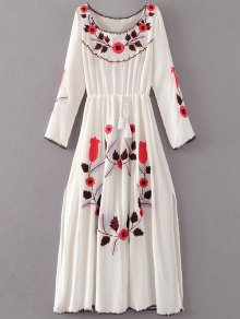 Floral Embroidered Long Sleeve Slit Vintage Dress - White