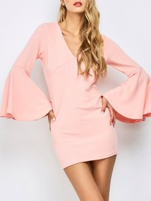 Belled Sleeve Mini Bodycon Dress - Orangepink