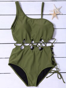 Slimming Lacing Asymmetric Swimsuit - Army Green