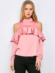 Stand Neck Cold Shoulder Flounced Blouse - Pink 2xl