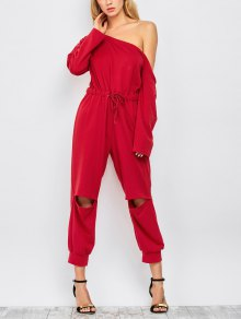 One Shoulder Drawstring Ripped Jumpsuit - Wine Red Xl