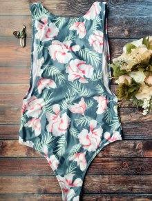 High Cut Tropical Print Swimwear - Blue