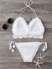 Tie Halter Faux Fur Knitted Bikini Set