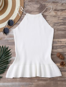 High Neck Ruffle Hem Knitted Tank Top - White