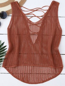 High Low Lace Up Crochet Top - Laterite