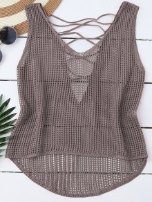 High Low Lace Up Crochet Top - Olive Grey