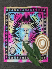 Moon And Sun Print Tapestry Beach Throw - Multicolor