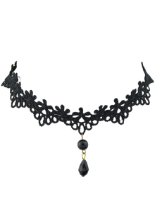 Flower Teardrop Bead Choker Necklace - Black